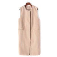apricot woolen - Women Wide waisted Sleeveless Apricot Solid Collarless Long Woolen Cardigan Waistcoat Winter Women Clothing Plus Size