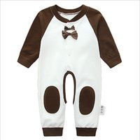 Wholesale The new baby crawl suit jumpsuits combed cotton clothing cotton open stalls climb clothes long sleeved underwear