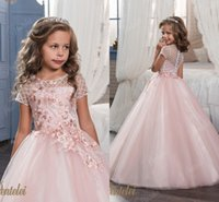 beautiful shirt dress - Pink Lace Arabic Flower Girl Dresses Ball Gown Beaded Tulle Child Dresses Beautiful Flower Girl Wedding Dresses F062