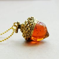 Pendant Necklaces acorn necklace - Fashion Women Glaze Acorn Cone Pendant Spinning Top Pendant Charms With Red Quartz Drop Imitate Natural Stone Necklaces Jewelry