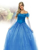 Wholesale Newest ladies womens girls Cinderella in blue dress adult clothing stage performance clothing Halloween cosplay costume