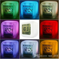 Wholesale Colorful simple alarm clock colorful color mood decompression Colorful luminous electronic alarm clock creative