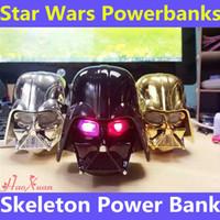 Bancos de energía esqueléticos para Mobile Star Wars Darth Vader Powerbanks para iphone6 Samsung Mobile Fuente de alimentación Batería portátil Cargador de emergencia