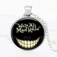 alice black chains - Alice In Wonderland movie Country Hatter jewelry We re all Mad Here steampunk pendant necklace Bronze medallion and silver necklacewholesale