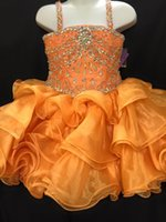 Wholesale 2016 Girls Short Pageant dresses Glitz with Ruffled Skirts and Spaghetti Neckline Real Photos Short Beaded Crystals Orange Cupcake Girls
