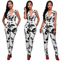 Wholesale 2016 Sexy Deep V Neck Sleeveless Vest Bandage Long Pants Jumpsuits Hot Fashion Night Club Printing Rompers B