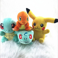 Wholesale 4 Styles cm Squirtle Charmander Bulbasaur Pikachu Plush dolls cartoon Poke plush toys poke Stuffed animals toys soft Christmas toys