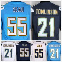 Wholesale Mens LaDainian Tomlinson Jersey Junior Seau Jersey Elite Stitched Football Jerseys Blue Navy White S XL