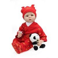 baby panda china - New cm silicone reborn baby doll Vinil Body Doll China Red Boy Baby Reborn Doll comes with Panda brinquedos toy