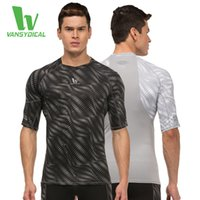Wholesale 2016 New VANSYDICAL Top Quality Men Compression Shirts Sports Running Tops Base Layers Fitness Gym Tees Middle Sleeve Jersey