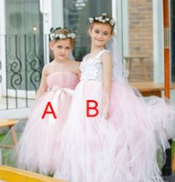 Wholesale New Arrival Styles Lovely White Ivory Pink Soft Tulle Ball Gown Flower Girl s Dress with Straps Custom Made