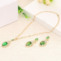 anniversary emerald - African Dubai emerald jewelry set New model sexy women jewelry pendants Jewelry Price Sets