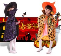 Wholesale Halloween Enchanter and Vampire cloak children bat cape cloak Festival Perform Costume Witch cloak hat cape