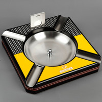 Wholesale COHIBA Habanos Accessories Luxury Square Cigar Ashtray with Free Stainless Steel Cutter Gift Set