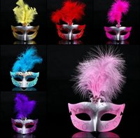 Wholesale LED Party Mask Face Mask Novelty RGB Flash Mask Gold Powder Princess Feather Mask PVC Masquerade Venetian Masks Halloween Party Mask