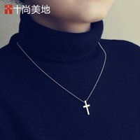 baby onyx - The ten is Meidi poem mini titanium necklace cross female small fresh South Korea jewelry to send the baby to children