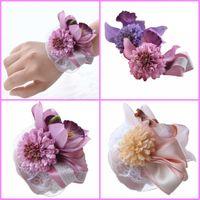 Wholesale Silk Champagne Bridal Bouquets - WF055 Purple Champagne Silk Flowers Wedding Wrist Flowers 2016 Beach Bridal Bridesmaid Wedding Wrist Flowers New Cheap Sale Summer