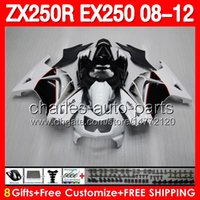 Comression Mold abs kawasaki - 8gifts For KAWASAKI NINJA ZX250R ZX R White black ZX R EX250 EX White Fairing Kit Bodywork