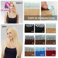 Wholesale 7A Grade Brazilian Human Hair Extensions Tape In Hair Extension0g g g Soft Straight Tape In Human Hair Extensions All Colors Available