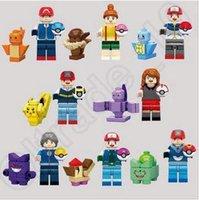 Wholesale 8 Designs Poke Mon Go Action Figure Minifigure Building Blocks DIY Pikachu Squirtle Model Toys Diamond Brick Toys SY620 CCA5159 set