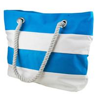 azure bag - Home Azure Sky Aquamarine and White Striped Beach Bag fashion stripe design beach tote cotton handle bags manufacturer