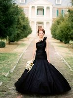 alternative gardening - Unique Black Mermaid Wedding Dresses with One Shoulder Tulle Church wedding Gowns Alternative Gothic Bridal Gowns vestidos de Novia