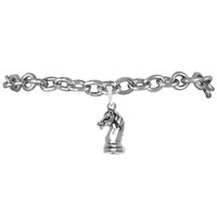 american chess - Good Quality zinc alloy Rhodium Plated Letter Knight Chess Horse pendant Charm rolo chain bracelets For Gift Party