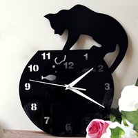 Wholesale Wall Watches DIY Acrylic Wall Clock Silent Quartz Clock Movement Cute Cat Clock D Wall Clock Modern Design