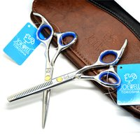 Wholesale Professional quot Barber Scissors set for Hairdressing salons Hair Cutting Shears Cutting and Thinning Scissors Leather Bag japan C