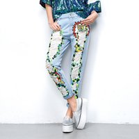 Wholesale 2016 Fashion Spring Women Ripped Jeans With Acrylic Diamond Light Blue Graffiti Jean for woman Denim Pants Melinda Style