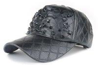Wholesale Sports Cap Low Price - Factory low price fashion PU Baseball skull Cap fall Leather cap Trucker cap Sports snapback Hats winter hats for men women W088
