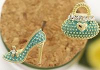 asymmetrical shoes - All match Fashion Bags High heeled Shoes Asymmetrical Stud Earrings Colors