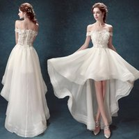 Wholesale 2015 Knee Length Wedding Dresses High Low Short Beach Off The Shoulder Lac With Short Sleeves Plus Size Custom Made Bridal Gowns