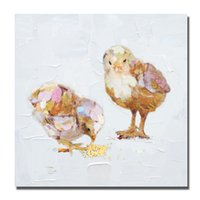 art chickens - Frameless Pictures on Wall Modern Canvas Art Home Decor Living Room Wall Pictures Little Chicken Oil Painting Peices No framed