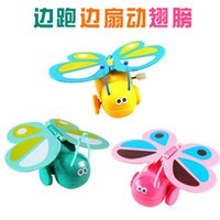 Wholesale Cheap running while flapping its wings colored butterfly on the chain clockwork toys baby animal lifelike