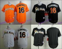 Wholesale Jose Fernandez Jersey Miami Marlins Cool Base Uniforms White Black