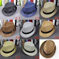Wholesale Vogue Women And Men Straw Panama Hats Summer Soft Fashion Fedora Stingy Brim Hats Sun Caps Colors