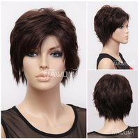 Wholesale T0072 Mess Type Short Wigs European American Style Dark Brown Women Wig Part inches Synthetic Full Wigs