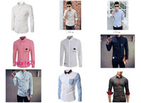 Wholesale 2016 High quality HOT New Fashion Mens shirts Men s Casual Slim Grid contrast color Shirt Long Sleeve Shirts A variety of options