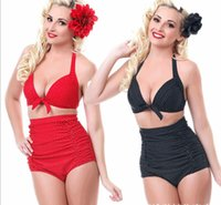 bathing pad - New National Bikini Set Plus Size Padded Bra Women Bikinis High Waist Swimsuit for Girls Retro Dot Swimwear chest wrapped Bathing suits