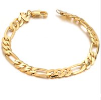 Wholesale Hot Sell Classic Vintage K Real Gold Plated Figaro chain bracelet Attractive Gold plated Bracelet handmade Men Women Jewelry