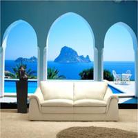 arch photos - custom photo wallpaper High quality silk cloth HD Aegean Sea white arch column extending space d large mural wallpaper d