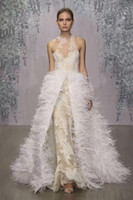 Wholesale 2017 champagne lace sheath wedding dresses ostrich feather overskirt wedding gowns stunning jewel neckline bridal gowns