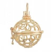 Oro plateado Pendientes de la bola de la música de la joyería de la Bola Pendientes abiertos de la jaula del colgante del colgante del colgante DIY de la bola Bola redonda apta de la bola de la bola adentro