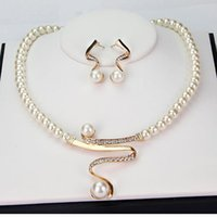 Wholesale Brand New Wedding Bridal Imitation Pearl Jewelry Sets High Quality Crystal KC Gold Plated Necklace And Earrings