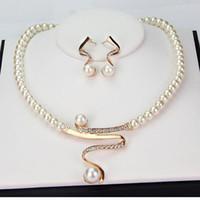 al por mayor chapado en oro conjuntos de collar de novia-Marca Nueva novia de la boda de imitación perlas joyería fija el collar cristalino de alta calidad KC chapado en oro y los pendientes