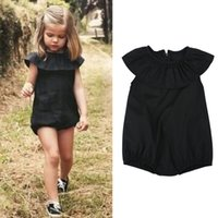 Wholesale Summer Toddler Baby Girls Ruffled Romper Clothes Fashion Kids Sleeveless Black Solid One piece Clothing Junpsuits