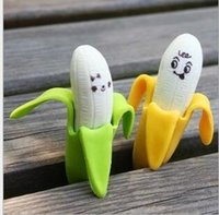Wholesale Creative banana eraser students rubber lovely cartoon banana eraser one pair of dress