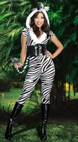 adult zebra costumes - Women Adult Sexy Zebra Design Costume Lingerie Halloween Costume Jumpsuit Fashion Fur Animal Costume