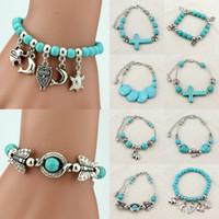 achat en gros de bracelets bracelet en argent-Bracelet en argent tibétain réglable en turquoise Bracelet perlé Femmes Bangle Bijoux